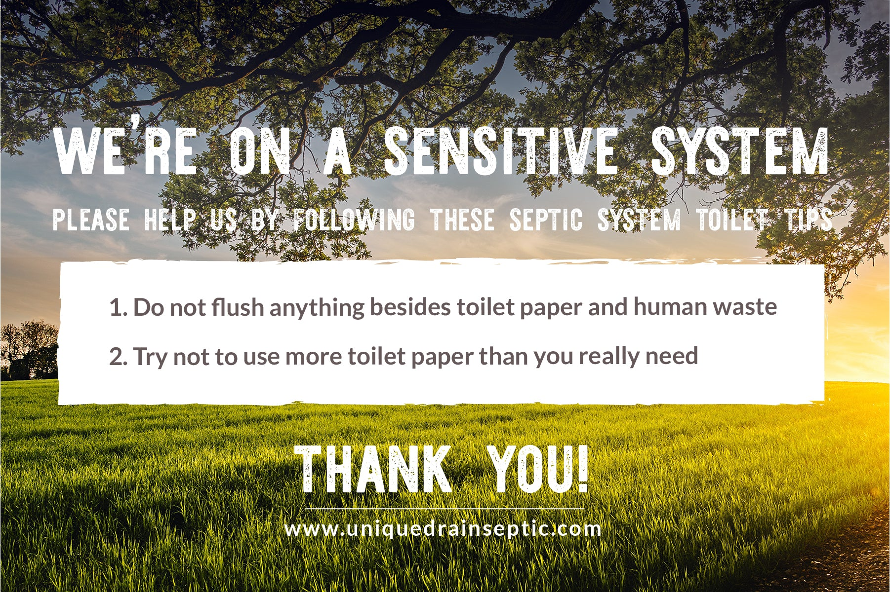 """An image of farmland with the text """"We're On A Sensitive System""""  Printable"""