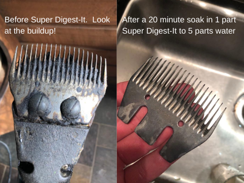 Before and after comparison of sheep shears cleaned with Super Digest-It Safe Drain Opener