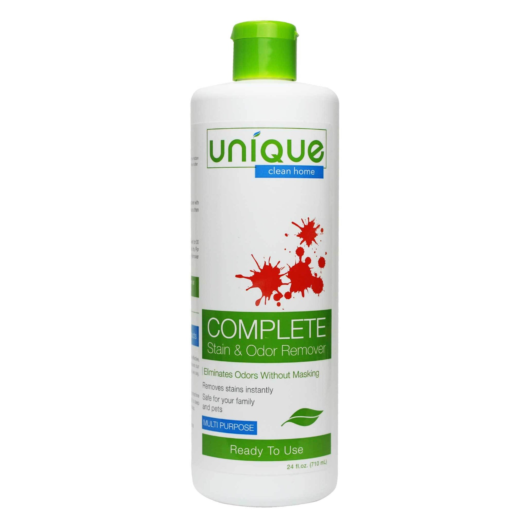 Unique Complete Stain and Odor Eliminator is a perfect solution to treating messes and spills. Works with powerful microbes to remove the toughest stains.