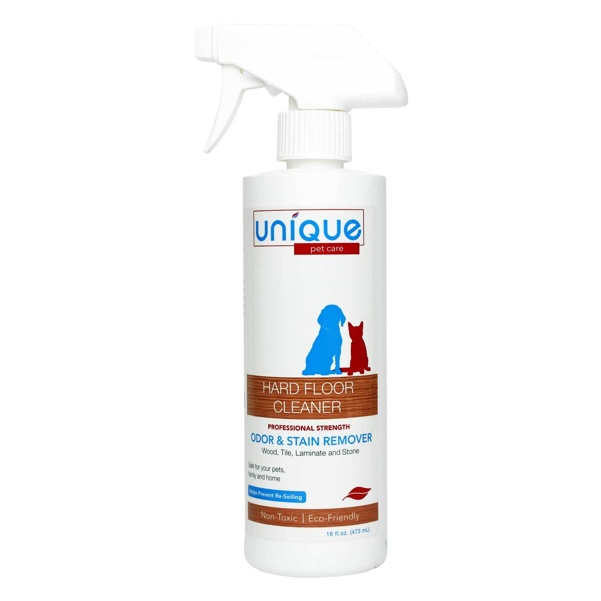 Unique Hard Floor Cleaner works on all hard surfaces to remove stains and odors. Unique Pet Care