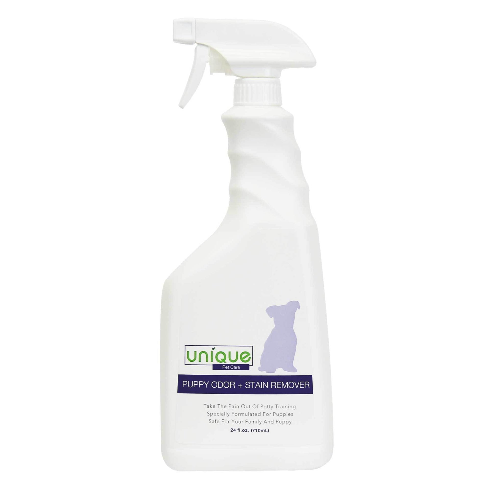Puppy Stain and odor remover acts fast to remove tough stains. Unique Pet Care