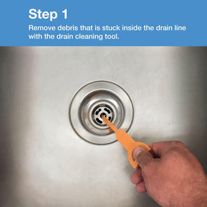 Remove debris that is stuck inside the drain line with drain cleaning tool.