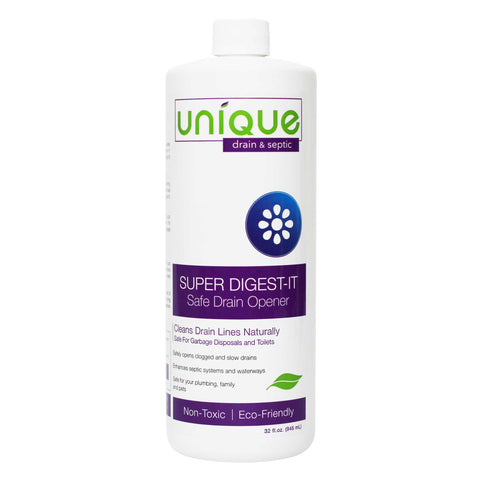 Super Digest-It Quart Size is used to clean dirty drains and remove clogs. Safe and Non-Hazardous.