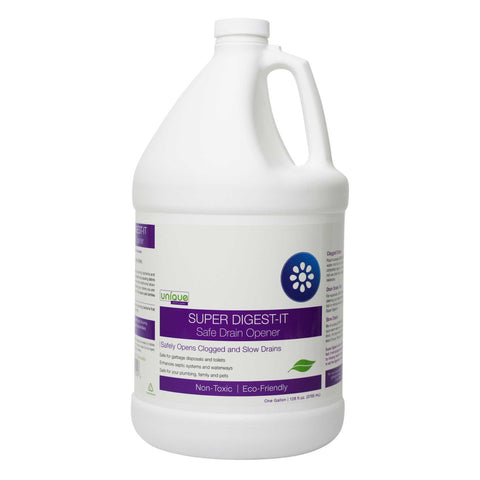 Gallon Size Super Digest-It Safe Drain Cleaner uses bacteria and probiotic microbes to break down clogs and build up. Does not eat hair.