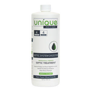 Unique Septic System Digester 4 month treatment 32 oz. quart bottle best septic system tank treatment made in the usa safe natural ingredients. Unique Drain + Septic