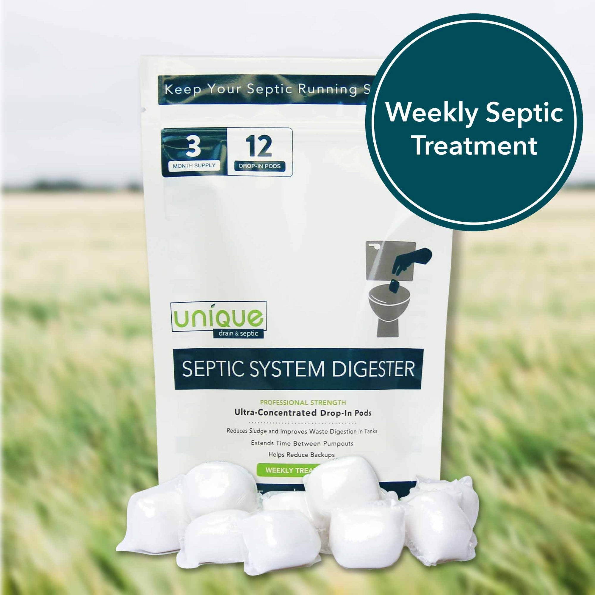 Septic System Digester treats your septic system with powerful digestive microbes that break down waste inside your tank. Unique Drain + Septic