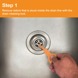 Remove Debris that is stuck inside the drain line with the drain cleaning tool.