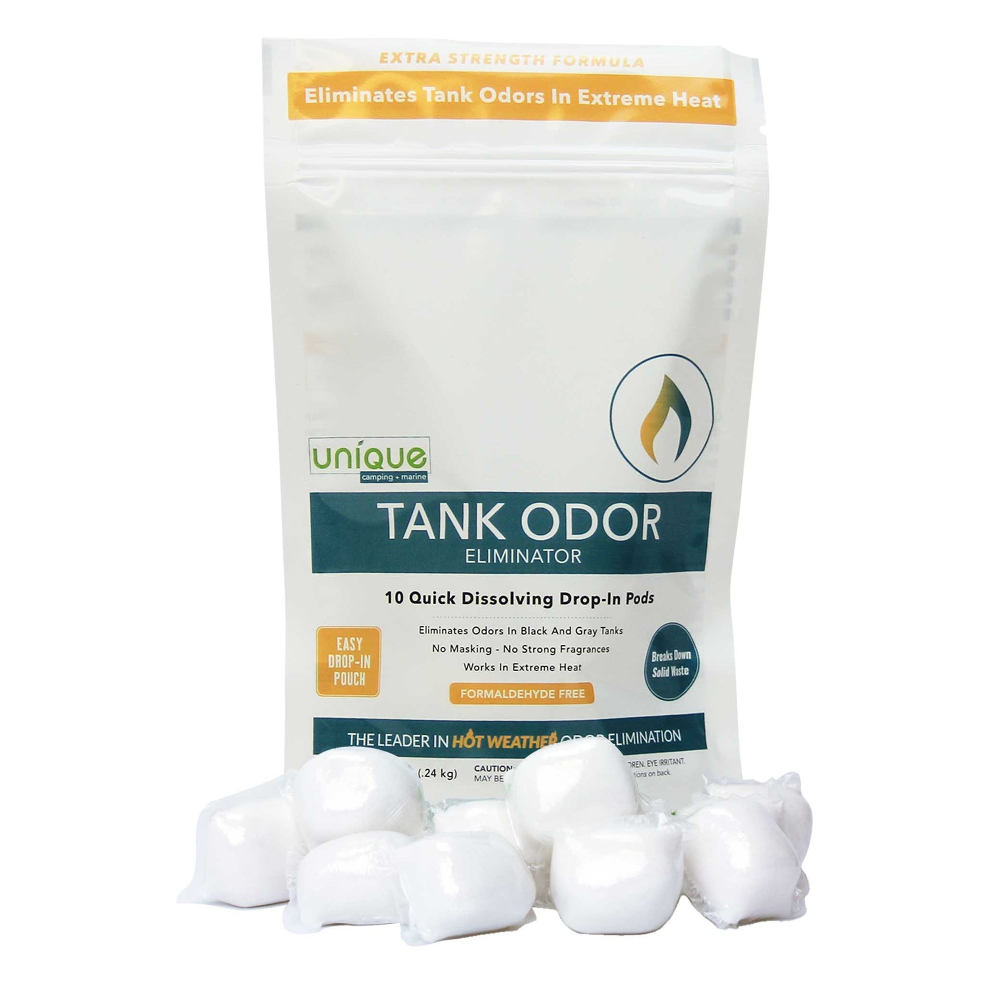 RV Tank Odor Eliminator controls RV bathroom odors in the highest heat. Control your stinky bathroom. Unique Camping + Marine