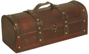 SUITCASE WOOD/FAUX LEATHER TRUNK