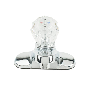 Single Acrylic Handle Faucet Less 'Pop-Up' - Round Base - Chrome Faucet