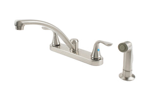 Traditional Brushed Nickel Kitchen Faucet with Matching Spray