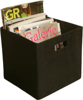 "11"" Cube Collapsible Tote, Black Canvas"