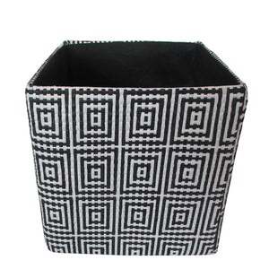 "11"" Cube Collapsible Tote, Black Concentric Squares"
