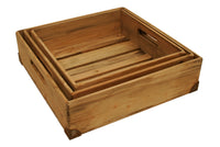 Set Of 3 Medium Weathered Pine Boxes/CASE OF 4/SET OF 3