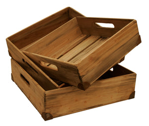Set Of 3 Medium Weathered Pine Boxes
