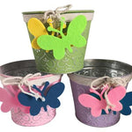 "5"" Metal Planter with Butterfly Accent /3"