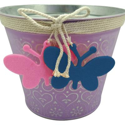 "7"" Metal Planter with Butterfly Accent/3"