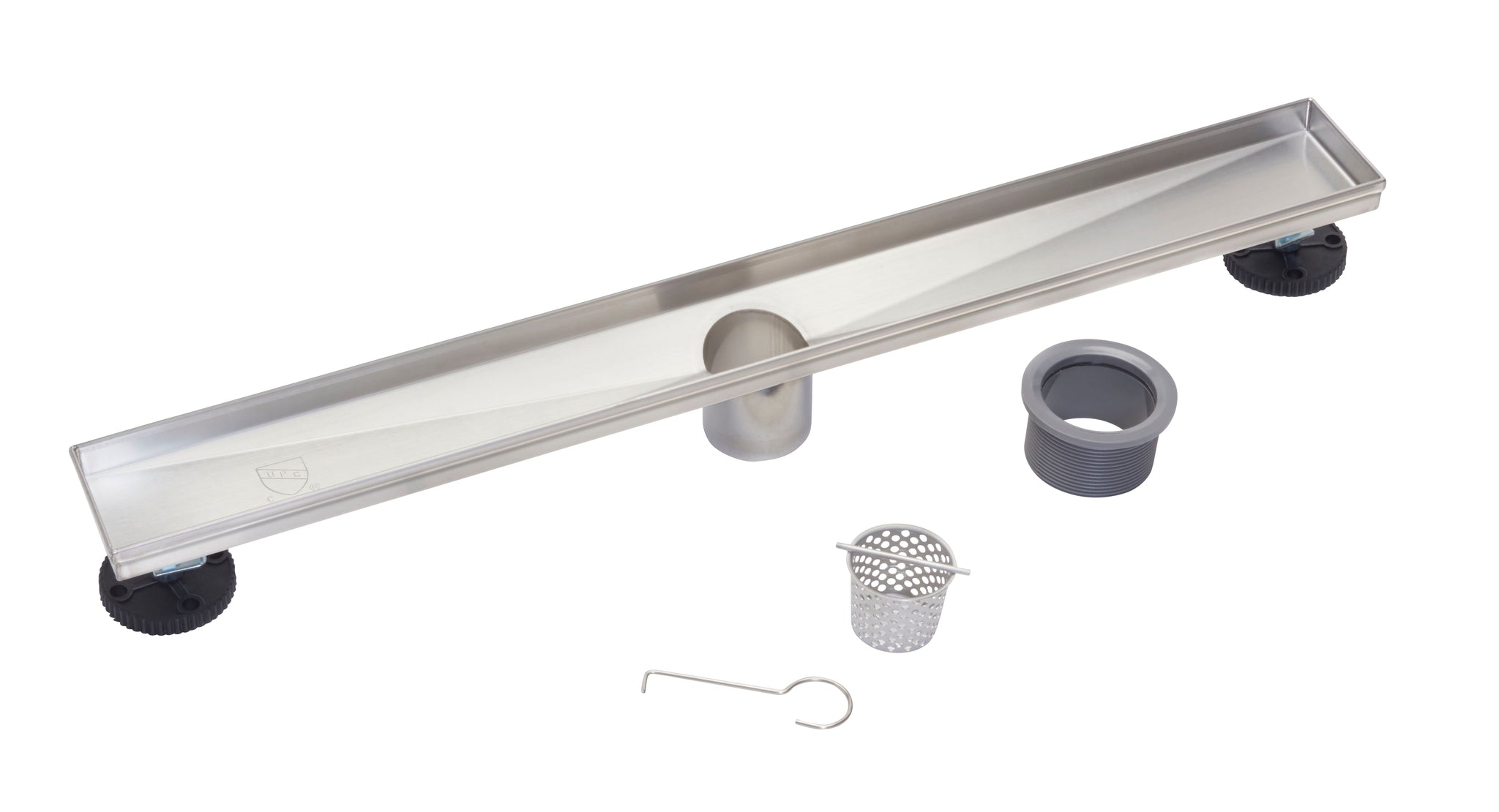 LINEAR SHOWER DRAIN OFFSET LINEAR PATTERN AVAILABLE IN CHROME OR BRUSHED NICKEL