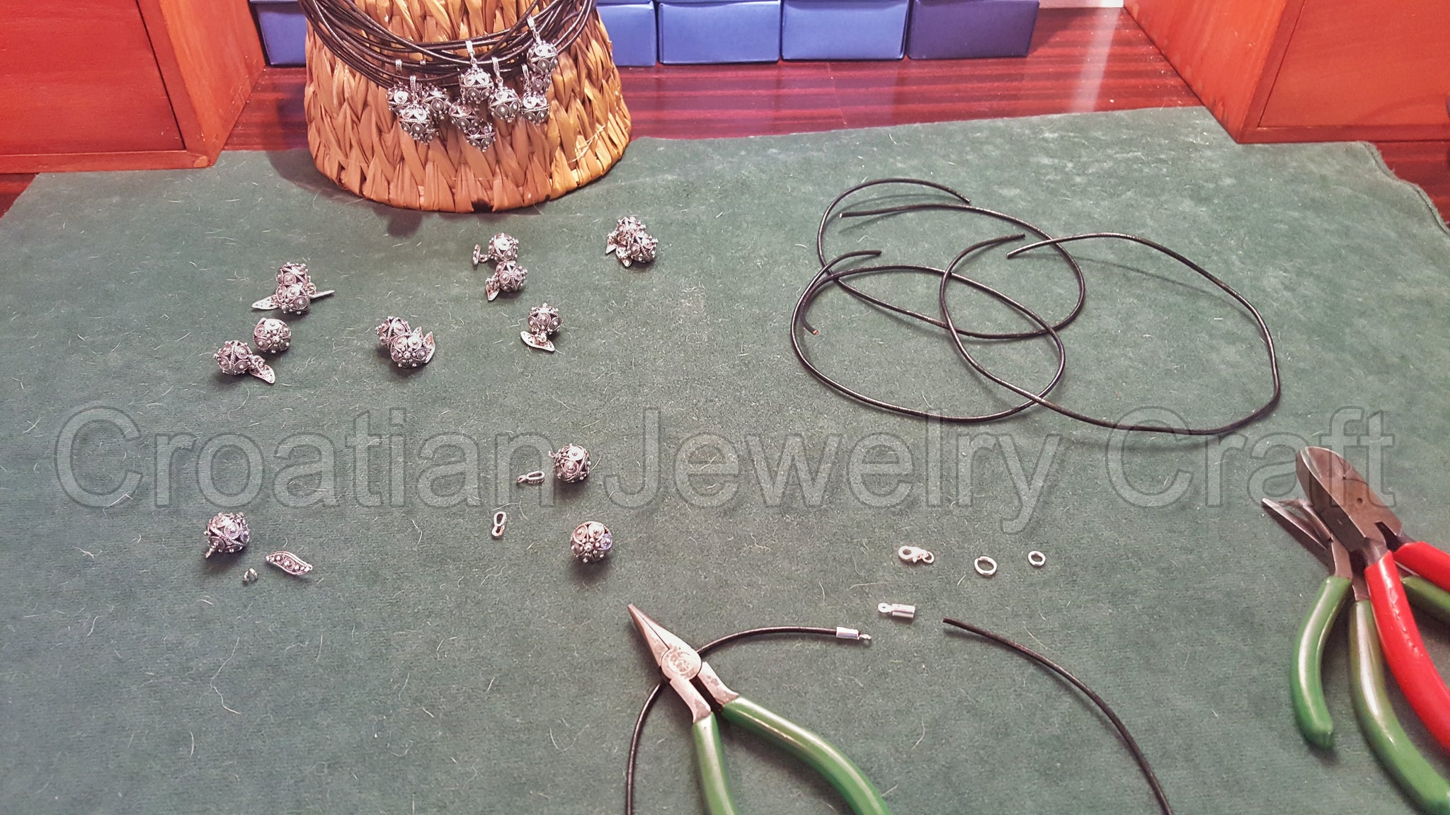 Finishing work on order for filigree pendant necklaces & cuff-links