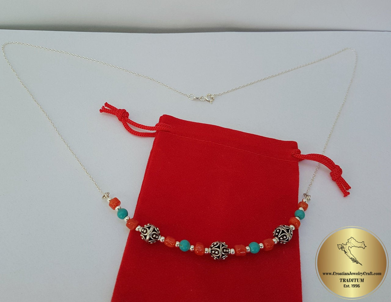 Undyed Natural Coral Necklace Dubrovnik Filigree Necklace Mediterranean Red Coral and Turquoise Necklace Solid Sterling Silver Necklace