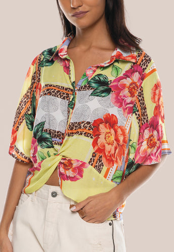 T-SHIRT CROPED FLORAL TROPICAL