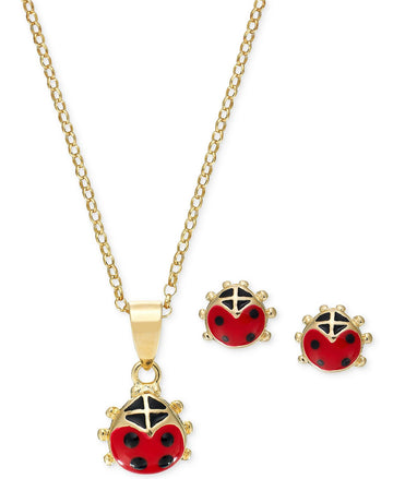 1361c315c Children's Red Enamel Ladybug Pendant Necklace and Stud Earrings Set in 18k  Gold- Plated Sterling