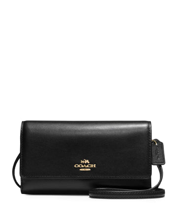 Phone Crossbody in Smooth Leather Light Gold Black