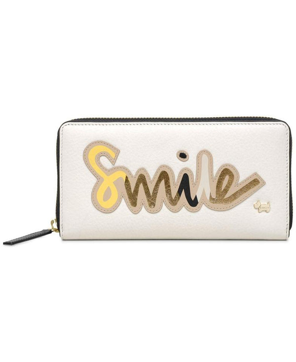 Zip Around Smile Wallet Chalk Gold