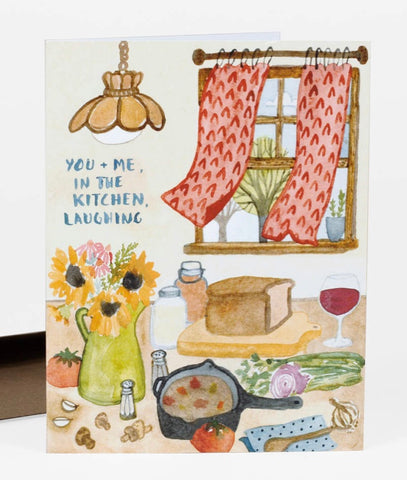 You + Me, In the Kitchen Laughing Greeting Card
