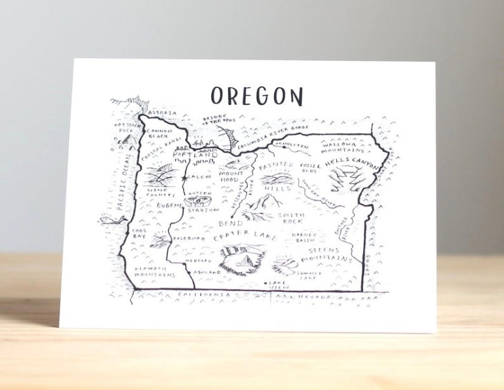 Map of Oregon Special Places Greeting Card