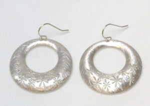Daisies on Etched Hoop Earrings