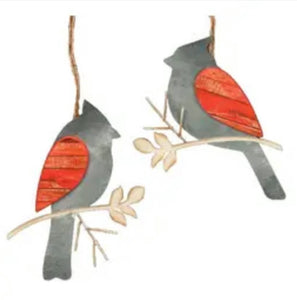 Galvanized Red Cardinal Ornament