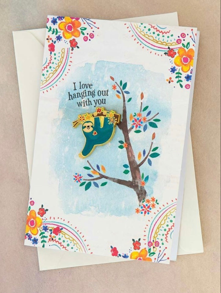 "Natural Life Sloth ""I Love Hanging Out With You"" Enamel Pin On Card"