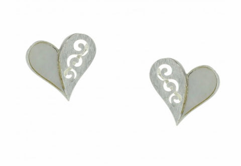 Heart with Mother of Pearl Inlay Post Earrings