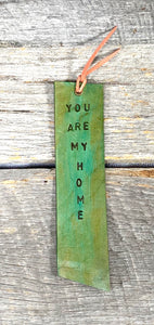 You Are My Home Leather Bookmark