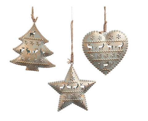 Antiqued Metal Star, Heart or Tree Ornament