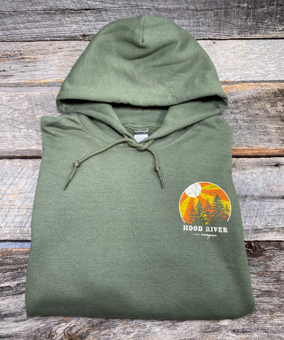 Hood River Hoodie With Sunburst Logo Unisex Army Sage  Green