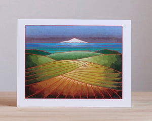 Hood River Farm Fields and Mt. Hood Greeting Cards