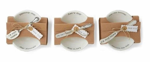 "Bistro Dip Bowl with ""I'm Party Trained"" Silver Plated Spreader Gift Set"