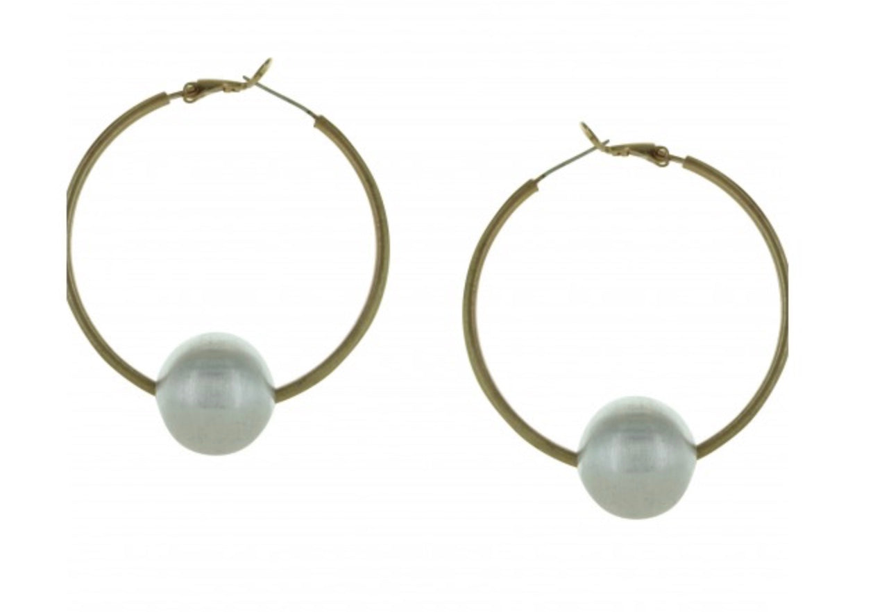 Gold Hoops with Silver Ball Hoop Earrings