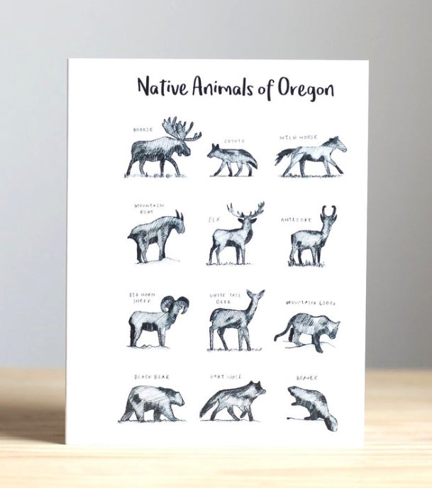 Native Animals of Oregon Greeting Card