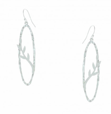 Tree Branch with Hammered Finish Oval Frame Earrings