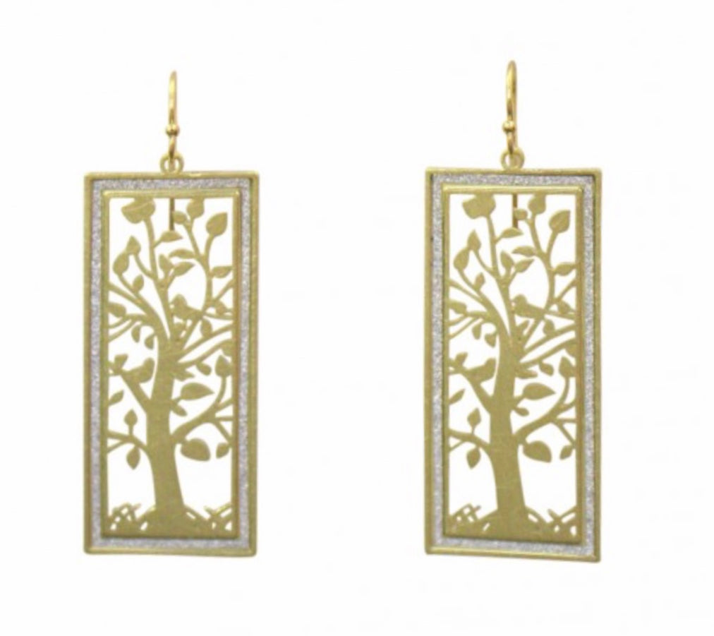 Elegant Tree of Life with Crystal Frame Earrings