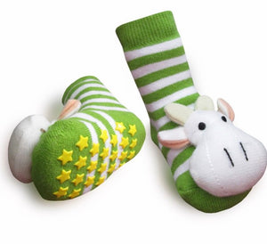 Green Cow Boogie Toes Rattle Socks size 1-2 years