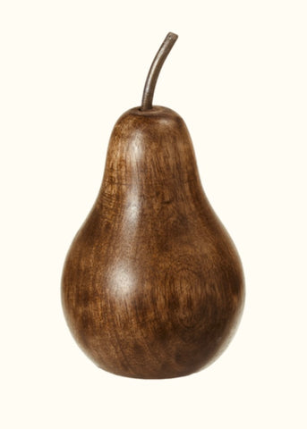 Carved Mango Wood Pear (small)