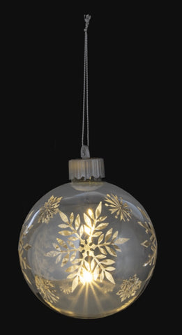Silver Snowflake Light Up Hanging Christmas Ornament