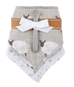 Lamb Cotton Bib and Spoon Gift Set