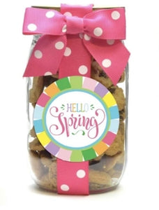 Hello Spring Pint Jar of Chocolate Chip Cookies