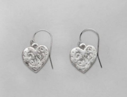 Hand Etched Petite Silver Hearts Earrings