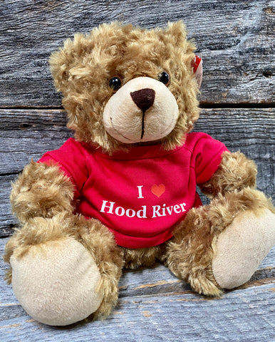 "Sweetie Bear Plush Teddy Bear wearing a ""I ♥️ Hood River"" Tee Shirt"